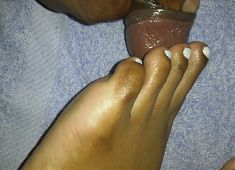 cumming on wifes toes