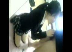 Korean girl fucks with school uniforms
